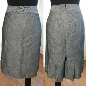 Ann Taylor LOFT Pencil Skirt Gray Kick Pleats Sz 6